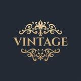 Calligraphic design element. Golden brand Stock Photo