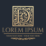 Calligraphic design element. Golden brand Royalty Free Stock Photos