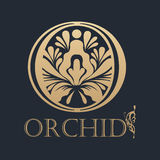 Calligraphic design element. Golden logo Stock Photography