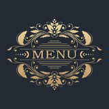 Calligraphic design element. Golden menu Royalty Free Stock Photography