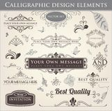 Calligraphic Design Elements. Vector set. Calligraphic design. Elements and page decoration Stock Photo