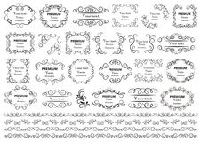 Free Calligraphic Design Elements . Decorative Swirls Or Scrolls, Vintage Frames , Flourishes, Labels And Dividers. Retro Vector Illust Stock Photos - 117679543