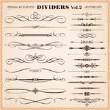 Calligraphic Design Elements, Dividers and Dashes Royalty Free Stock Image