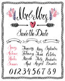 Calligraphic design elements, Mr & Mrs, months, numbers and seas Royalty Free Stock Images