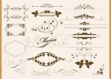 Calligraphic design elements and page decoration Stock Photo