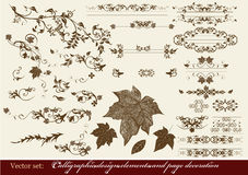 Calligraphic design elements and page decoration. Decorative elements for elegant design. Calligraphic vector Royalty Free Stock Images