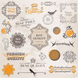 Calligraphic Design Elements and Page Decoration. Vector Set: Calligraphic Design Elements and Page Decoration, Vintage Label collection with Flowers Stock Photos