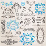 Calligraphic Design Elements and Page Decoration. Vector Set: Calligraphic Design Elements and Page Decoration, Vintage Frame collection with Flowers Stock Image