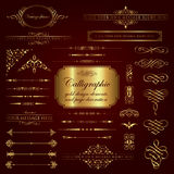 Calligraphic design elements and page decoration in gold Royalty Free Stock Photography