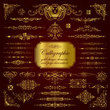 Calligraphic design elements and page decoration in gold Royalty Free Stock Image