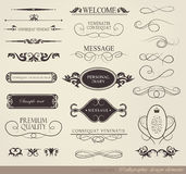 Calligraphic design elements. Page decoration and label/ vector set Stock Photography