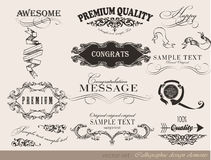Calligraphic design elements, page decoration Royalty Free Stock Images