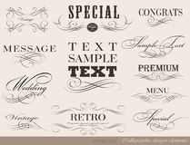 Calligraphic design elements. And page decoration/  set Royalty Free Stock Photo