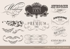 Calligraphic design elements. And page decoration/  set Royalty Free Stock Photos