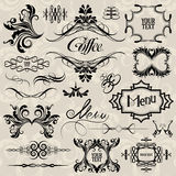 Calligraphic design elements. And page decoration set, from background vector illustration