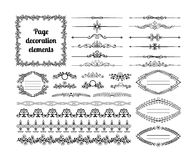 Calligraphic design elements for page decoration. Set of calligraphic design elements for page decoration. Dividers, vignettes, scrolls, frames and borders Stock Photo