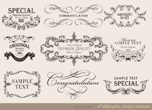 Calligraphic design elements, page decoration. Vector set of calligraphic design elements/ page decoration, guarantee Label, calligraphic frames Stock Images