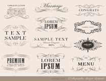 Calligraphic design elements, page decoration. Vector set of calligraphic design elements/ page decoration, guarantee Label, calligraphic frames /  set Stock Images