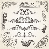 Calligraphic design elements and page decoration. Vector set to embellish your layout royalty free illustration