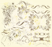 Calligraphic design elements and page decorations. Decorative elements for elegant design. Calligraphic vector Stock Photos