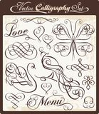 Calligraphic Design Elements Set. Calligraphic set with exquisite ornamental designs. Great for wedding invitations and layout embellishment Stock Photo