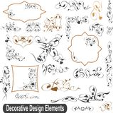 Calligraphic design elements set, borders frames Royalty Free Stock Image