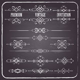 Calligraphic design elements set on chalkboard Royalty Free Stock Images