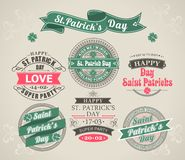 Calligraphic Design Elements St. Patricks Day. Set of calligraphic Elements stamps of the holiday St. Patricks Day royalty free illustration