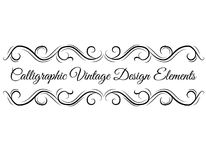 Calligraphic design elements. Swirls, vintage ornaments, Waves, Scroll elements. Filigree dividers. Vector. Calligraphic design elements. Swirls, vintage Royalty Free Stock Photography