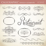 Calligraphic design elements to embellish your layout. Vector format stock illustration