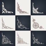 Calligraphic design elements. Vintage corners set Royalty Free Stock Image