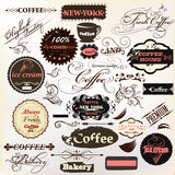 Calligraphic design elements and vintage labels for  cafe design Royalty Free Stock Photography