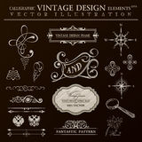 Calligraphic design elements vintage set. Vector ornament frame Stock Photos