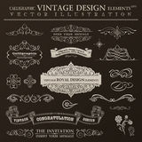 Calligraphic design elements vintage set. Vector ornament frames Royalty Free Stock Photos
