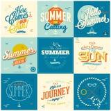 Calligraphic designbakgrunder för sommar Arkivbilder