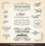 Calligraphic designbaner för tappning vektor illustrationer