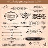 Calligraphic designbeståndsdelar stock illustrationer