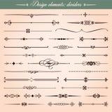 Calligraphic designbeståndsdelar, avdelare och rusar vektor illustrationer
