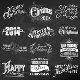 Calligraphic designbeståndsdelar för jul Arkivfoto