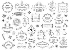 Calligraphic designbeståndsdelar för jul Dekorativa virvlar eller snirklar, tappning inramar, krusidullar, etiketter och avdelare royaltyfri illustrationer