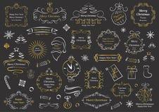 Calligraphic designbeståndsdelar för jul Dekorativa virvlar eller snirklar, tappning inramar, krusidullar, etiketter och avdelare vektor illustrationer