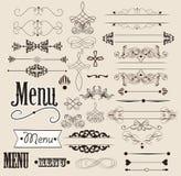 Calligraphic designbeståndsdelar och sidagarneringar Arkivbild