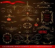 Calligraphic designbeståndsdelar som är guld- på svart Royaltyfria Bilder