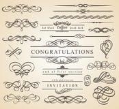 Calligraphic designbeståndsdelar och inramar Arkivfoto