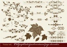 Calligraphic designelement och sidagarnering Stock Illustrationer