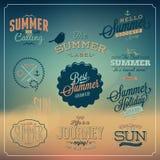 Calligraphic designuppsättning för sommar Arkivfoto