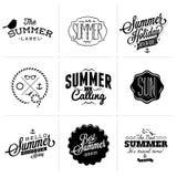 Calligraphic designuppsättning för sommar Royaltyfria Bilder
