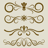 Calligraphic divider set. Calligraphic book page divider vector set. 4 dividers for greeting cards, invitations, title pages or text separation Stock Image