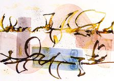 A Calligraphic drawing, Asemic Writing with a Cola Pen giving chaos and mess and splatter on a watercolor background. A Calligraphic Squiggle, Asemic Writing stock illustration