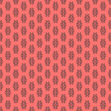 Calligraphic element seamless pattern. Black decorative elements on a coral color background Stock Photos